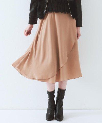 【QUEENS COURT(クイーンズ コート)】【セットアップ対象】ピーチサテンラップスカート