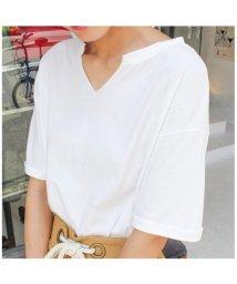 MODE ROBE/スキッパーコットンTシャツ/500420182
