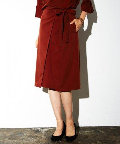 【NIJYUSANKU(23区)】【洗える!/セットアップ対応】ピーチサテン ラップスカート