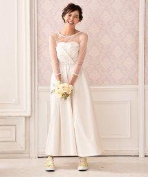 form forma/【kaene】ドットチュールインナー付き カシュクール風ロングウェディングドレス/500436200