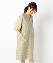 JIYU-KU /【洗える】ストライプストレッチツイル ワンピース/500452010