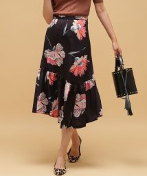 ROPE' mademoiselle/《予約》フラワープリントギャザーミモレスカート/500460201
