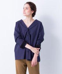 LANVIN en Bleu/ワイドネックシャツブラウス/LB0004138