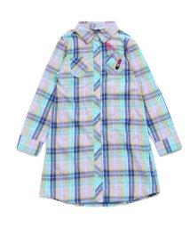 ALGY/リップ刺繍チェックロングシャツ/500462118