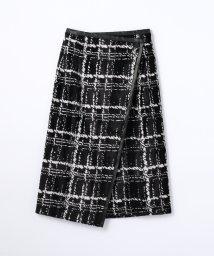 TOMORROWLAND collection/パイルレーヨンチェック Iラインラップスカート/500474032