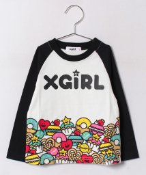 X-girl Stages/ロゴ&スイーツ 長袖ベースボールTシャツ/500470911