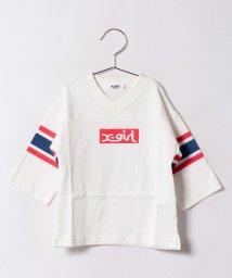 X-girl Stages/ボックスロゴ フットボールハーフスリーブTシャツ/500479834
