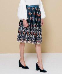 QUEENS COURT/【大きいサイズ】チュールトリコロール刺繍スカート/500512023