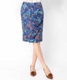 Viaggio Blu/≪大きいサイズ≫バスケットフラワープリントフリルデザインタイトスカート/500512038