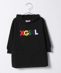 X-girl Stages/ロゴフェルトワッペン フードスウェット長袖ワンピース/500491716