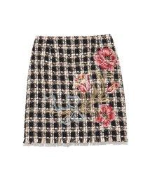 Lily Brown/ツイード刺繍台形スカート/500532409