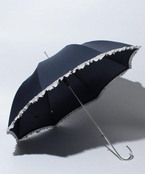pink trick(ピンクトリック)/雨晴兼用 長傘 (UVカット&軽量) ジャンプ傘 ボーダーフリル /84952_img01