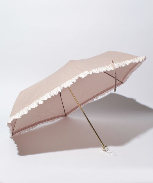 pink trick(ピンクトリック)/雨晴兼用 3段折傘 (UVカット&軽量) ボーダーフリル/84960_img01