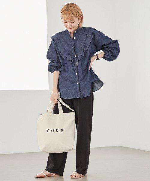 coen(コーエン)/【2017FW新色登場】coen2WAYロゴトートバッグ/76816027007_img01