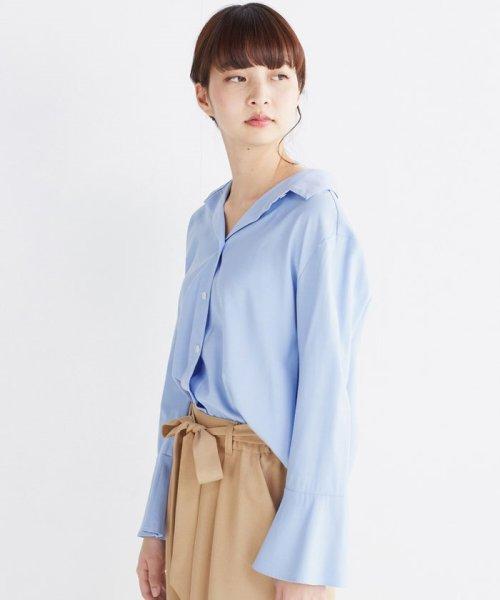 haco!(ハコ)/これ1枚で女っぽさを手に入れる なめらか素材の袖フレアーシャツ/449536_img22