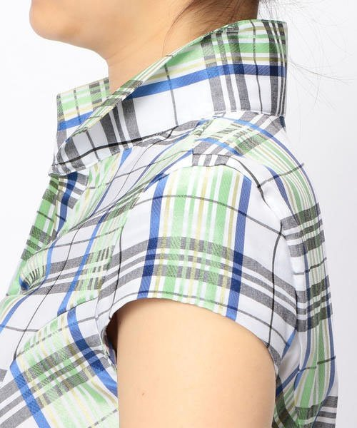 NARA CAMICIE(ナラカミーチェ)/スタンドカラーチェック半袖シャツ/107104034_img05