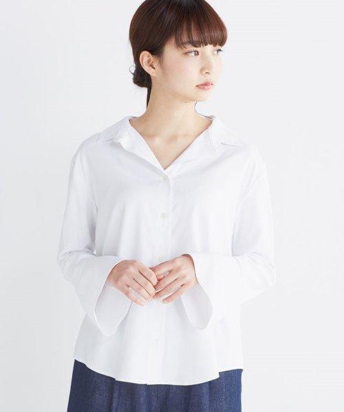 haco!(ハコ)/これ1枚で女っぽさを手に入れる なめらか素材の袖フレアーシャツ/449536_img08