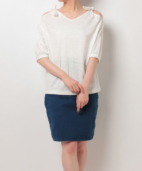 NICE CLAUP OUTLET(ナイスクラップ アウトレット)/【natural couture】肩リボンTシャツ/356610590_img05