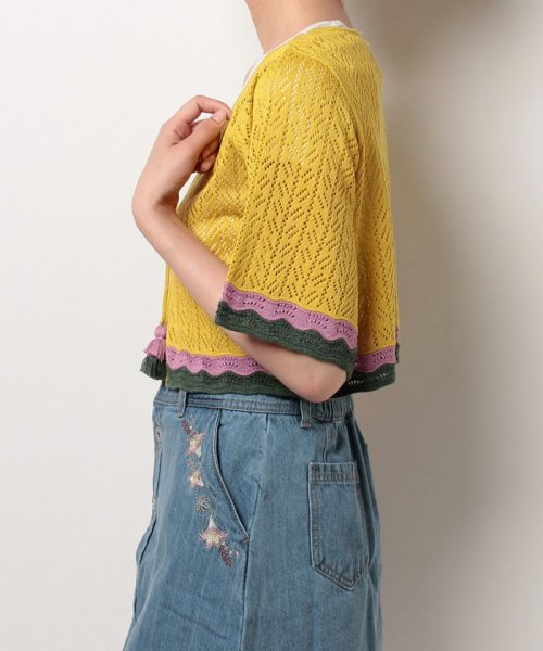 NICE CLAUP OUTLET(ナイスクラップ アウトレット)/【natural couture】配色スカラップボレロ/358830430_img01