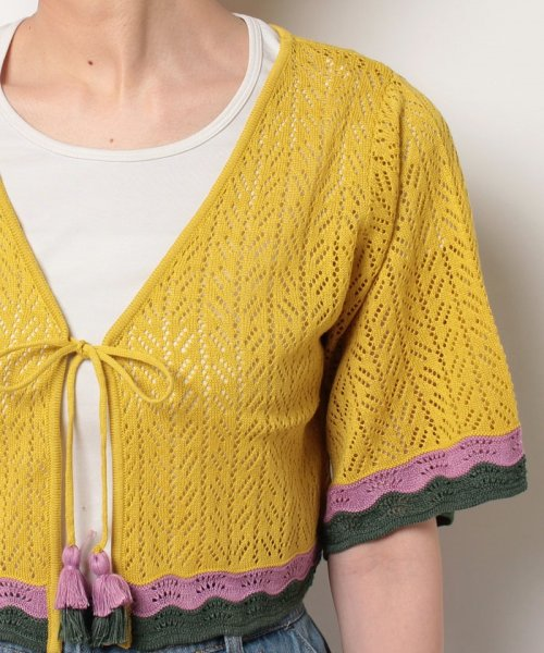 NICE CLAUP OUTLET(ナイスクラップ アウトレット)/【natural couture】配色スカラップボレロ/358830430_img03