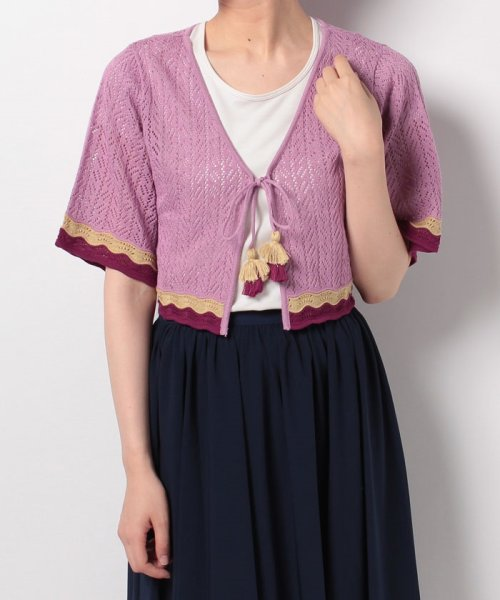 NICE CLAUP OUTLET(ナイスクラップ アウトレット)/【natural couture】配色スカラップボレロ/358830430_img06