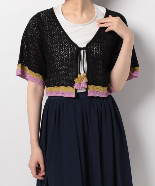 NICE CLAUP OUTLET(ナイスクラップ アウトレット)/【natural couture】配色スカラップボレロ/358830430_img07