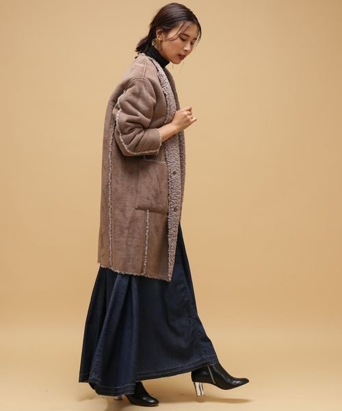 ROPE' mademoiselle(ロペ マドモアゼル)/【2WAY】フェイクスエードボアノーカラーコート/GWO4720_img15