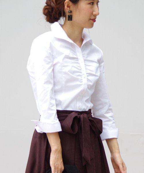 NARA CAMICIE(ナラカミーチェ)/ピエゴリーネスタンドカラー七分袖シャツ/107202015_img02