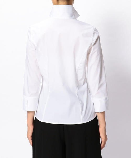 NARA CAMICIE(ナラカミーチェ)/ピエゴリーネスタンドカラー七分袖シャツ/107202015_img04