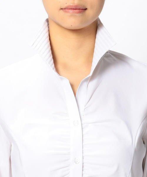 NARA CAMICIE(ナラカミーチェ)/ピエゴリーネスタンドカラー七分袖シャツ/107202015_img05