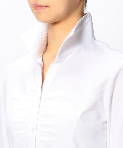 NARA CAMICIE(ナラカミーチェ)/ピエゴリーネスタンドカラー七分袖シャツ/107202015_img06
