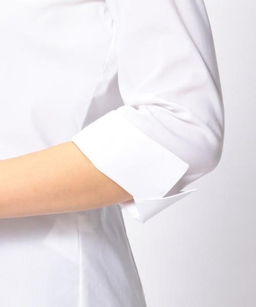 NARA CAMICIE(ナラカミーチェ)/ピエゴリーネスタンドカラー七分袖シャツ/107202015_img08
