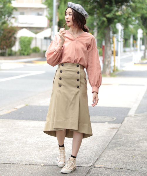 beautiful people(ビューティフルピープル)/ultimate pima twill trench tuck skirt/1725107001_img01