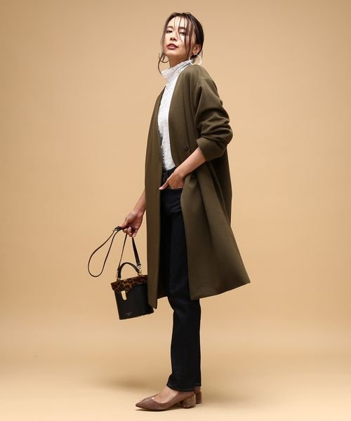 ROPE' mademoiselle(ロペ マドモアゼル)/※アンゴラシャギーノーカラーコート/GWO4712_img08