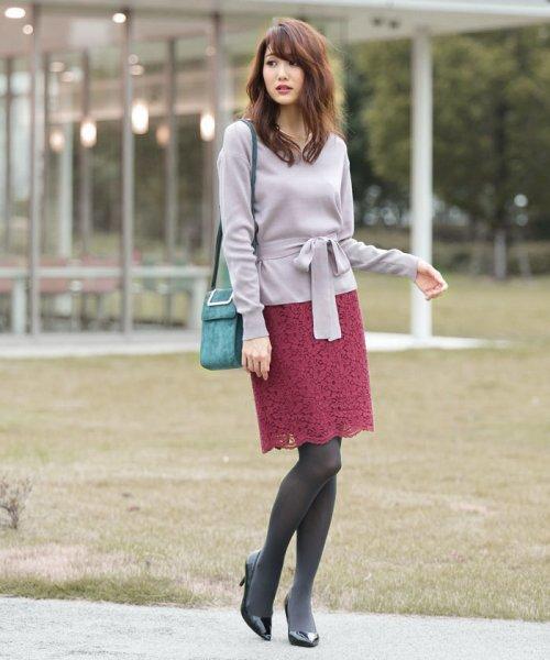 PROPORTION BODY DRESSING(プロポーション ボディドレッシング)/【MAGASEEK/d fashion限定】レースフロッキータイトスカート/1217220912_img01