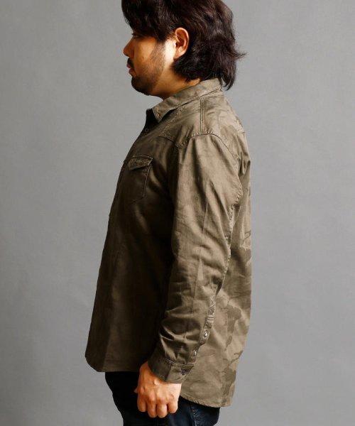 HIDEAWAYS NICOLE L(ハイダウェイニコル(大きいサイズ))/ストレッチ迷彩柄シャツ/7404-8000_img02