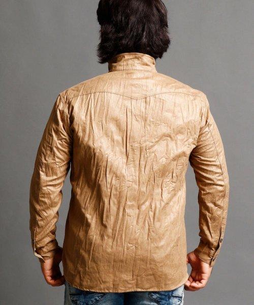 HIDEAWAYS NICOLE L(ハイダウェイニコル(大きいサイズ))/フェイクスウェードシャツ/7404-8003_img01