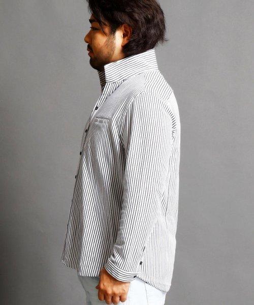 HIDEAWAYS NICOLE L(ハイダウェイニコル(大きいサイズ))/ストライプカットシャツ/7404-9930_img02
