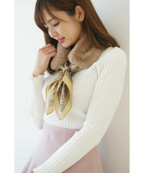 PROPORTION BODY DRESSING(プロポーション ボディドレッシング)/ファースカーフティペット付きリブニット/1217270100_img03
