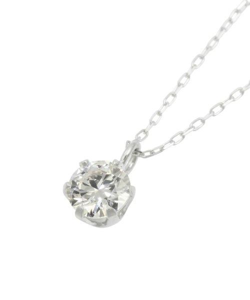 JEWELRY SELECTION(ジュエリーセレクション)/天然ダイヤモンド 0.3ct VVSクラス 6本爪ネックレス 鑑定書付 あずき40cm/NSII03CTVVSA40PT_img01