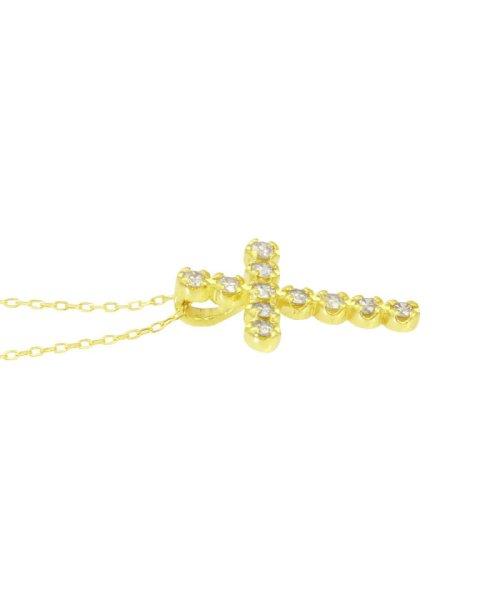 JEWELRY SELECTION(ジュエリーセレクション)/K18YG 天然ダイヤモンド 11石 0.2ct クロスネックレス/NSUZ1175302CTA40K18YG_img01