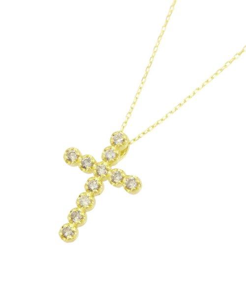 JEWELRY SELECTION(ジュエリーセレクション)/K18YG 天然ダイヤモンド 11石 0.2ct クロスネックレス/NSUZ1175302CTA40K18YG_img02