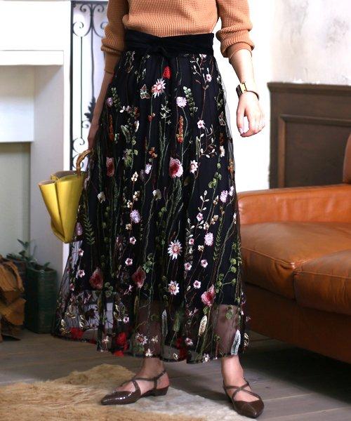 Bou Jeloud(ブージュルード)/カラフルフラワー刺繍チュールスカート/673029_img02
