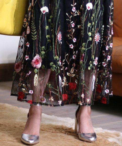 Bou Jeloud(ブージュルード)/カラフルフラワー刺繍チュールスカート/673029_img09