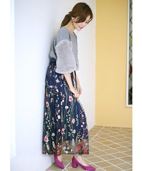 Bou Jeloud(ブージュルード)/カラフルフラワー刺繍チュールスカート/673029_img13