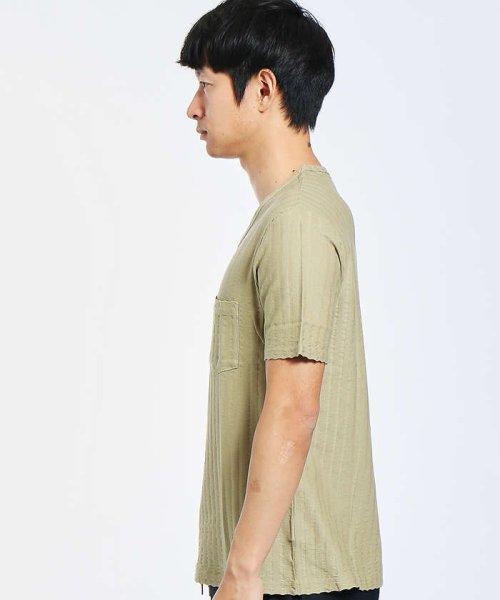 ABAHOUSE(ABAHOUSE)/鹿の子サッカーストライプVネックTシャツ/00341021204_img02
