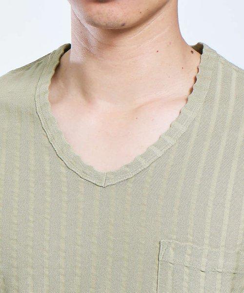 ABAHOUSE(ABAHOUSE)/鹿の子サッカーストライプVネックTシャツ/00341021204_img04