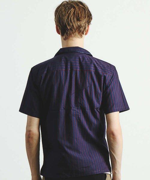 ABAHOUSE(ABAHOUSE)/ストライプパイピングオープンカラーシャツ/00350011021_img03