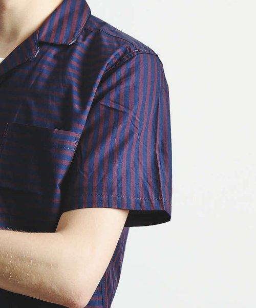 ABAHOUSE(ABAHOUSE)/ストライプパイピングオープンカラーシャツ/00350011021_img06