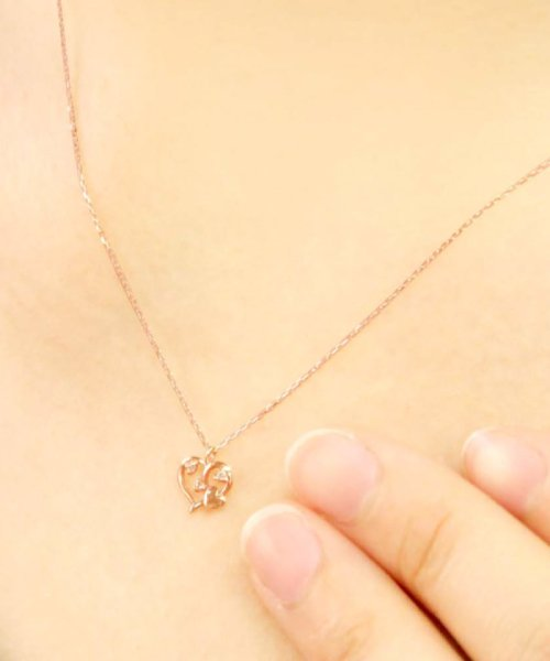 JEWELRY SELECTION(ジュエリーセレクション)/贅沢なオール18金ゴールド!K18ゴールド 天然ダイヤモンド ネックレス 選べる3カラー 【オープンハート/K18PG】/NSUZ12659001CTA40K18PG_img02